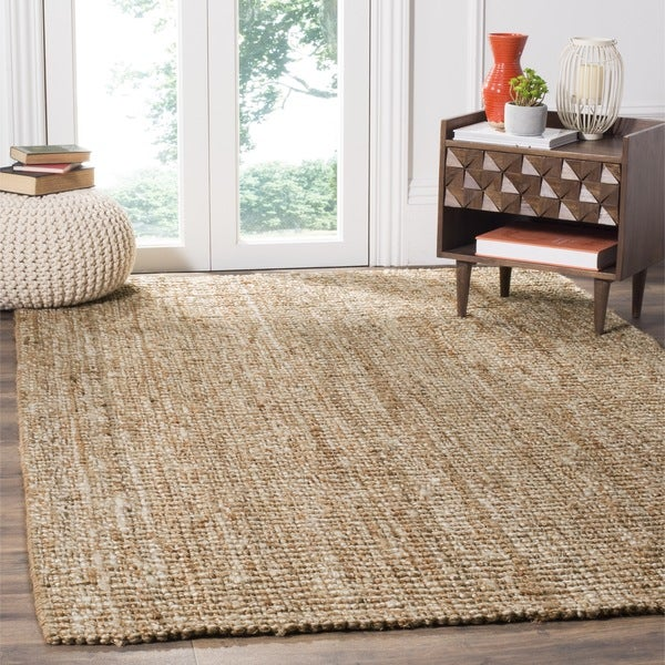 Safavieh casual natural fiber hand woven natural ivory for Thick area rugs sale