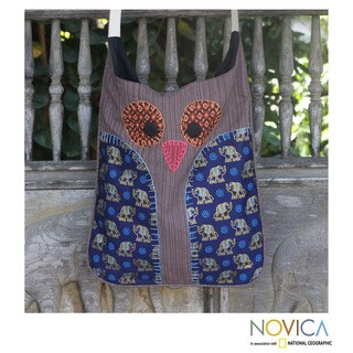 Handcrafted Cotton 'Whimsical Brown Owl' Sling Bag (Thailand)