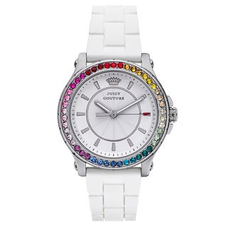 Juicy Couture Women's White Rubber and Stainless Steel Japanese Quartz Watch