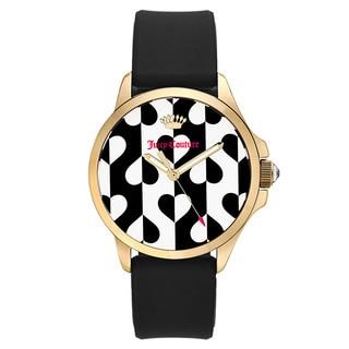 Juicy Couture Women's Black Rubber and Goldtone Japanese Quartz Watch