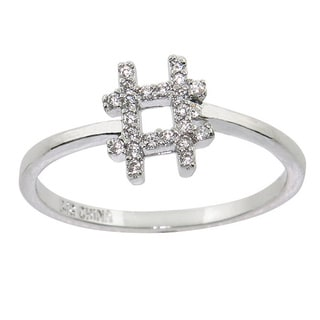 Eternally Haute Rhodium-plated Cubic Zirconia Pave '#' Hashtag Punctuation Ring