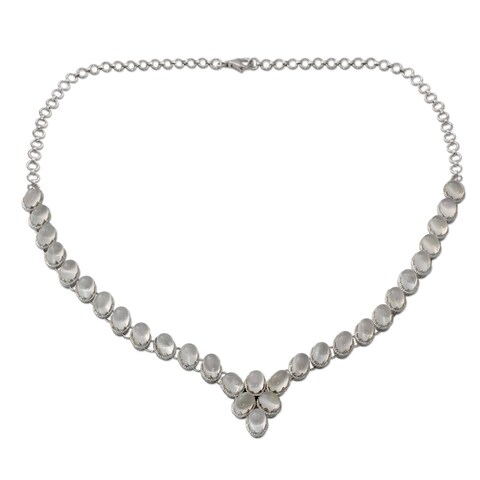 Handmade Sterling Silver 'Cascading Light' Moonstone Necklace (India)
