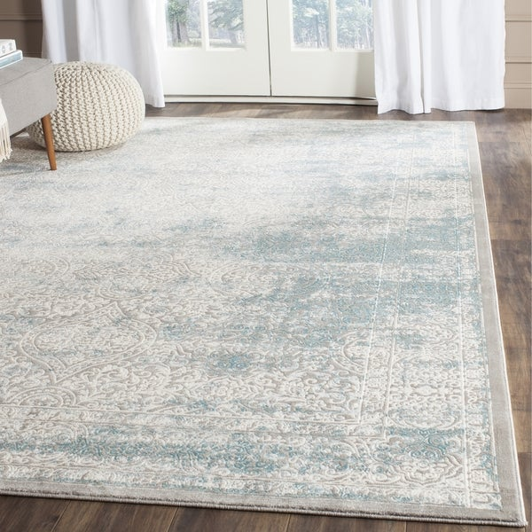 Safavieh Passion Watercolor Turquoise/ Ivory Distressed Rug - 10' x 14'