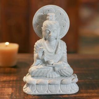 Handmade Soapstone 'Beautiful Buddha' Statue (India)