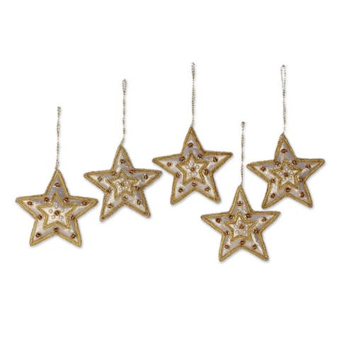 Set of 5 Handcrafted Beadwork 'Glorious Star' Ornaments (India)