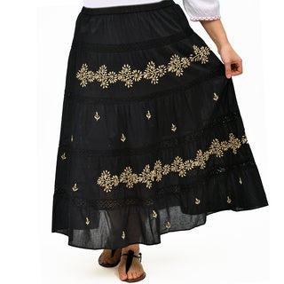 La Cera Women's Plus-size Embroidery-detail Peasant Skirt