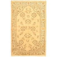 ecarpetgallery Handmade Ottoman Ruya Renkli Beige and Yellow Wool Rug - 5'8 x 9'2