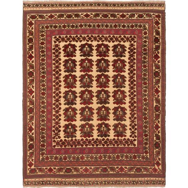 ecarpetgallery Handmade Ghafkazi Beige and Red Wool Sumak Rug (6'8 x 8'6)