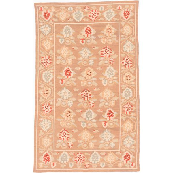 ecarpetgallery Handmade Ghafkazi Brown Wool Kilim Rug (6' x 9'9)
