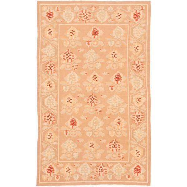 ecarpetgallery Handmade Ghafkazi Brown Wool Kilim Rug (5'11 x 9'8) - 5'11 x 9'8
