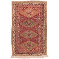 ecarpetgallery Handmade Nomad Brown and Red Wool Sumak Rug (6' x 9'3)