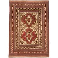 ecarpetgallery Handmade Ghafkazi Red and Yellow Wool Sumak Rug (6'3 x 8'10)