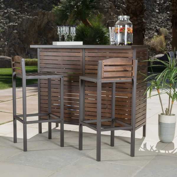 Milos Outdoor 3 Piece Acacia Wood Bistro Bar Set By