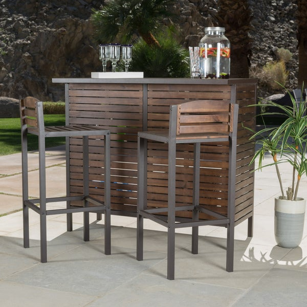 Milos Outdoor 3 Piece Acacia Wood Bistro Bar Set By Christopher Knight Home