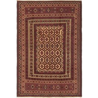 ecarpetgallery Handmade Ghafkazi Beige and Red Wool Sumak Rug (6'2 x 9'3)
