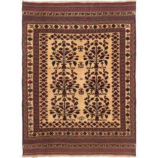 ecarpetgallery Handmade Ghafkazi Red and Yellow Wool Sumak Rug (6'5 x 8'8)