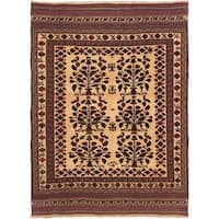 ecarpetgallery Handmade Ghafkazi Red and Yellow Wool Sumak Rug (6'5 x 8'8)