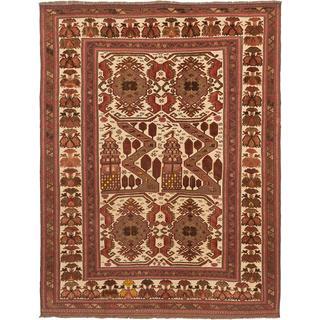ecarpetgallery Handmade Ghafkazi Beige and Brown Wool Sumak Rug (6'10 x 8'10)