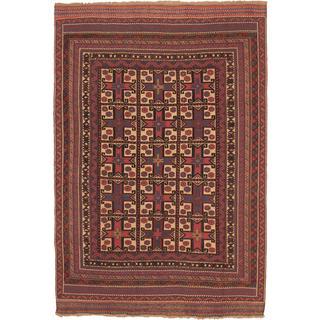 ecarpetgallery Handmade Ghafkazi Beige and Red Wool Sumak Rug (6'4 x 9'2)