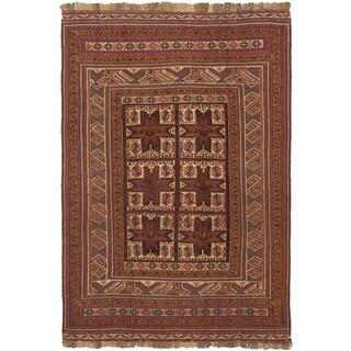 ecarpetgallery Handmade Ghafkazi Beige and Red Wool Sumak Rug (6'3 x 9'2)