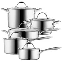 Cooks Standard 10-Piece Multi-Ply Clad Cookware Set, Stainless Steel
