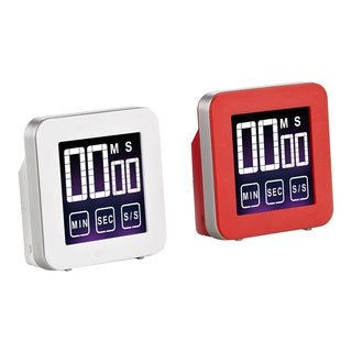 Cook N Home 2 Piece Touch Screen Digital Kitchen Timer, Red and White