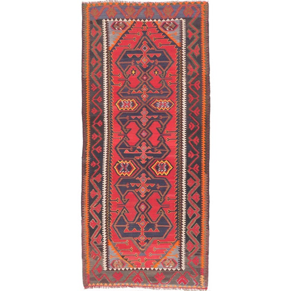 ecarpetgallery Handmade Ghafkazi Blue and Red Wool Kilim Rug (5'3 x 11'10)