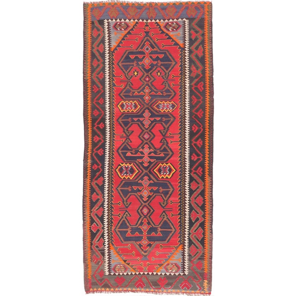 ecarpetgallery Handmade Ghafkazi Blue and Red Wool Kilim Rug (5'3 x 11'10) - 5'3 x 11'10