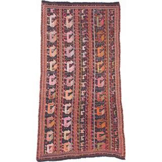 ecarpetgallery Handmade Ghafkazi Black and Red Wool Sumak Rug (5'5 x 10'6)