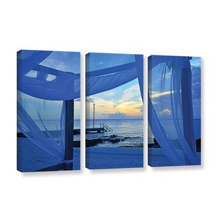 Kathy Yates's 'Sunset Sea View' 3 Piece Gallery Wrapped Canvas Set