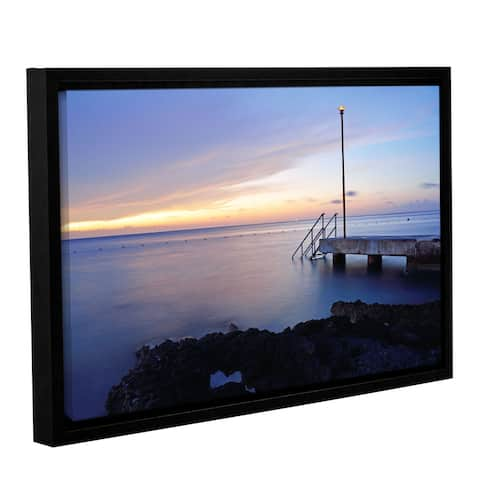 Kathy Yates's 'Twilight Pier' Gallery Wrapped Floater-framed Canvas - Multi