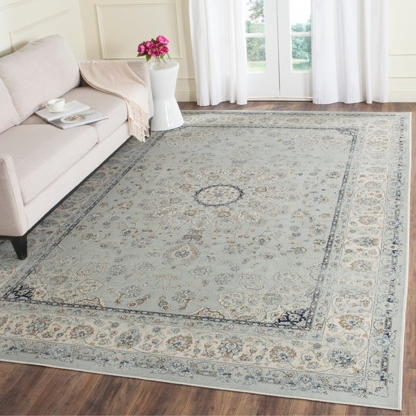 Safavieh Persian Garden Vintage Oriental Light Blue/ Ivory Distressed Silky Viscose Rug - 8' x 11'