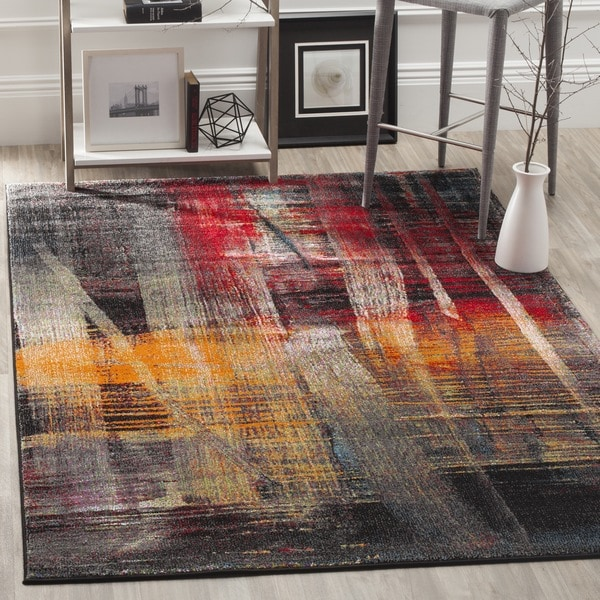 Safavieh Porcello Modern Abstract Brushstrokes Multicolored Rug (8' x 10')