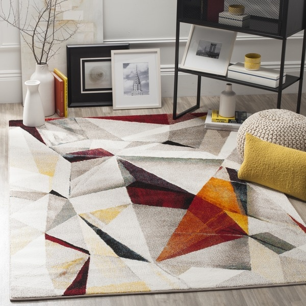 Modern Rugs 8 X 10: Safavieh Porcello Modern Abstract Light Grey/ Orange Rug