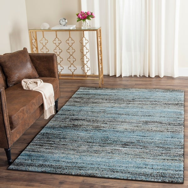 Safavieh Porcello Modern Stripe Charcoal/ Blue Rug - 8' x 10'