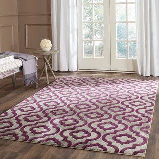 Safavieh Porcello Contemporary Geometric Light Grey/ Purple Rug (9' x 12')