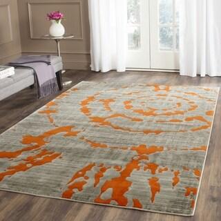 Safavieh Porcello Abstract Contemporary Light Grey/ Orange Rug (10' x 14')
