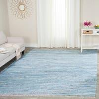 Safavieh Hand-Woven Rag Rug Light Blue/ Multi Cotton Rug - 8' x 10'