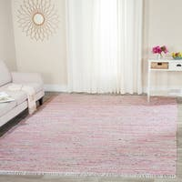 Safavieh Hand-Woven Rag Rug Light Pink/ Multi Cotton Rug - 8' X 10'