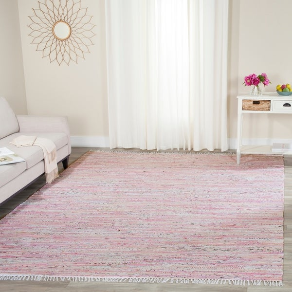 Safavieh Hand-Woven Rag Rug Light Pink/ Multi Cotton Rug - 8' x 10'