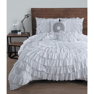 Avondale Manor Sadie Ruffled 5-piece King Size Comforter Set in White (As Is Item)
