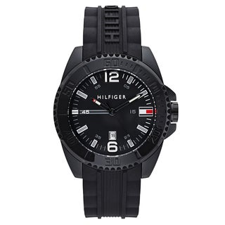 Tommy Hilfiger Men's Black Rubber Japanese Quartz Watch