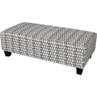 Porter Noelle Woven Grey Zigzag Rectangle Cocktail Ottoman