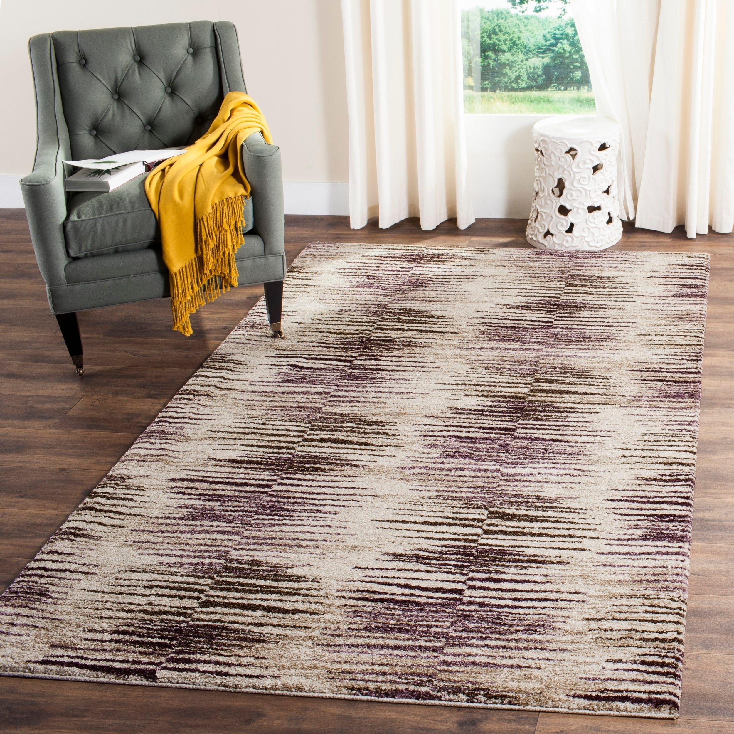 Safavieh Retro Modern Abstract Light Brown/ Eggplant Rug ...