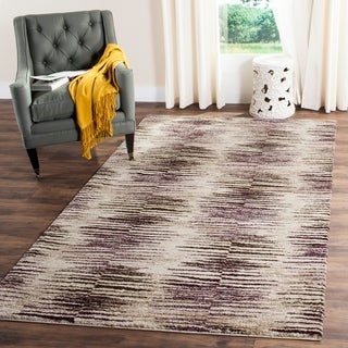 Safavieh Retro Modern Abstract Light Brown/ Eggplant Rug (8' 9 x 12')