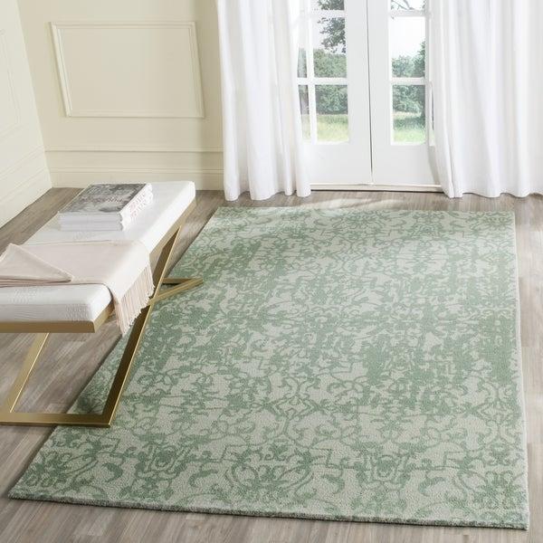 Safavieh Handmade Restoration Vintage Grey / Turquoise Wool Distressed Area Rug - 8' x 10'