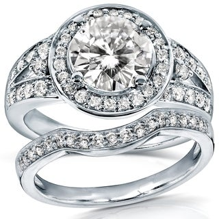 Annello by Kobelli 14k Gold 1 1/2ct TCW Round Moissanite and 1/2ct TDW Diamond Halo Bridal Ring 2-Pi