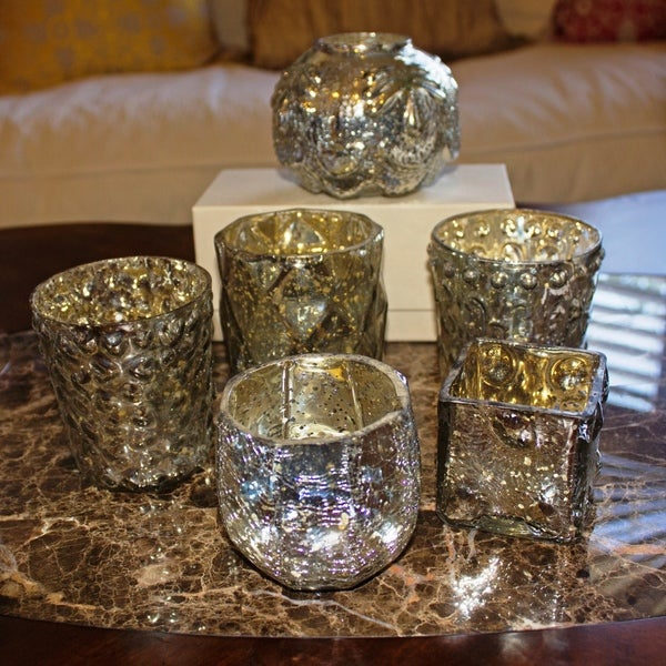 f63b5e89fb53 GlideRite Assorted Vintage Mercury Glass Votive Candle Holders Tea Lights  (Set of 6)