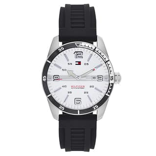 Tommy Hilfiger Men's Black Rubber and Stainless Steel Japanese Quartz Watch|https://ak1.ostkcdn.com/images/products/11741646/P18658959.jpg?impolicy=medium