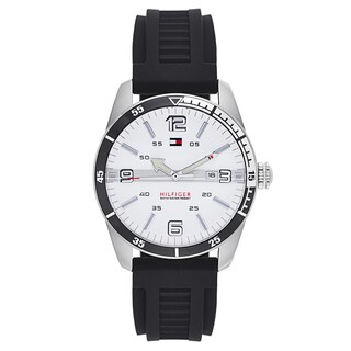 Tommy Hilfiger Men's Black Rubber and Stainless Steel Japanese Quartz Watch